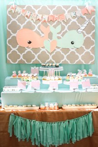 Peach + mint twin baby shower | Baby Showers | 100 Layer ...