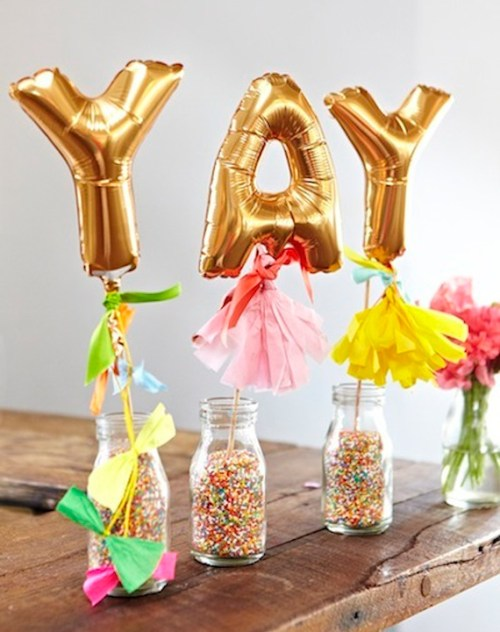 Balloon Decorations Gold Foil Balloon Letters Mason Jars With Confetti Sprinkles Letters On A Stick