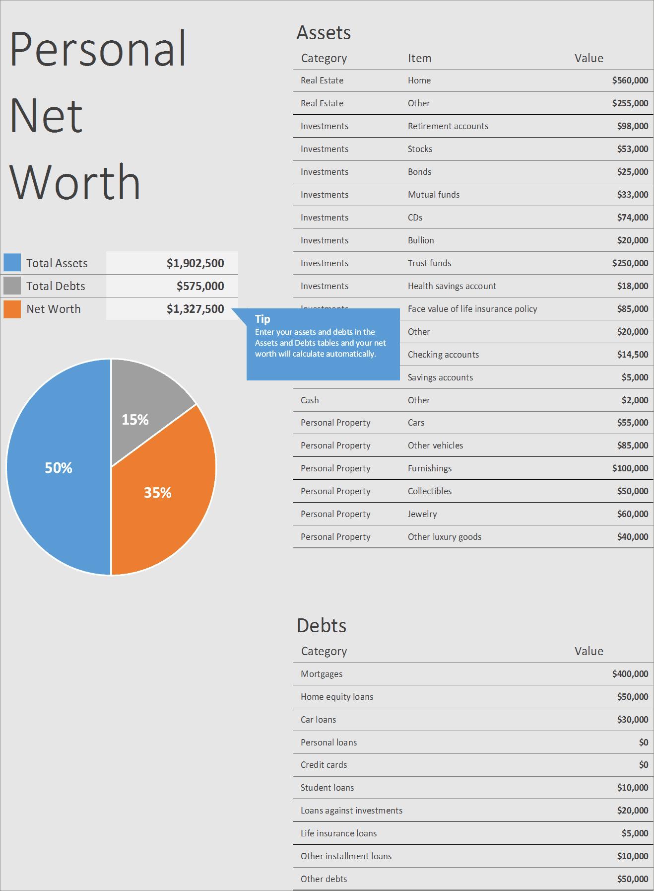 Worksheets Personal Net Worth Worksheet Cheatslist Free