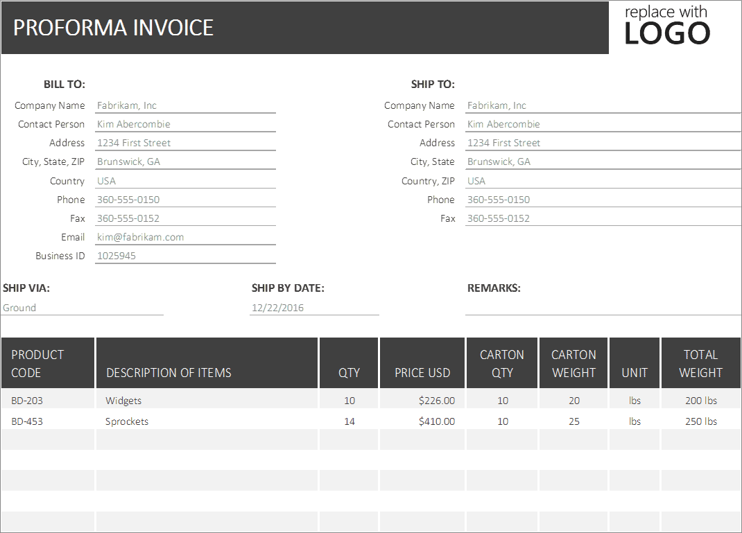 proforma invoice excel template business insights group ag