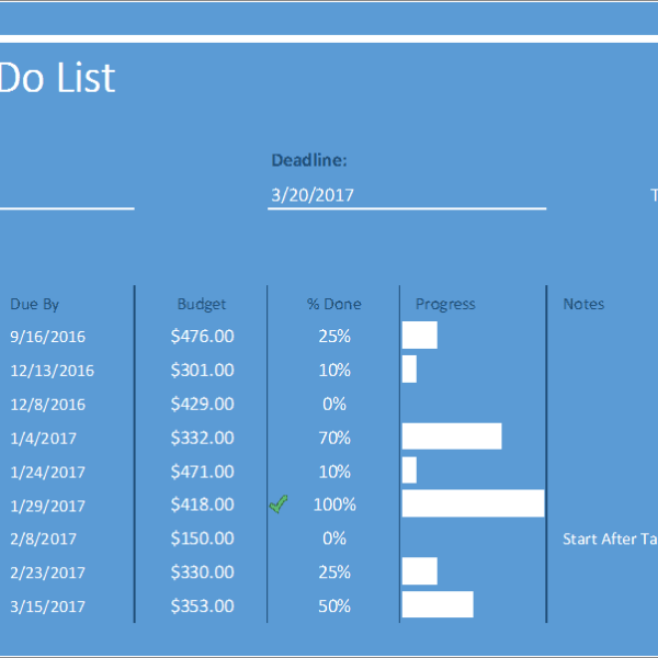 project to do list excel template