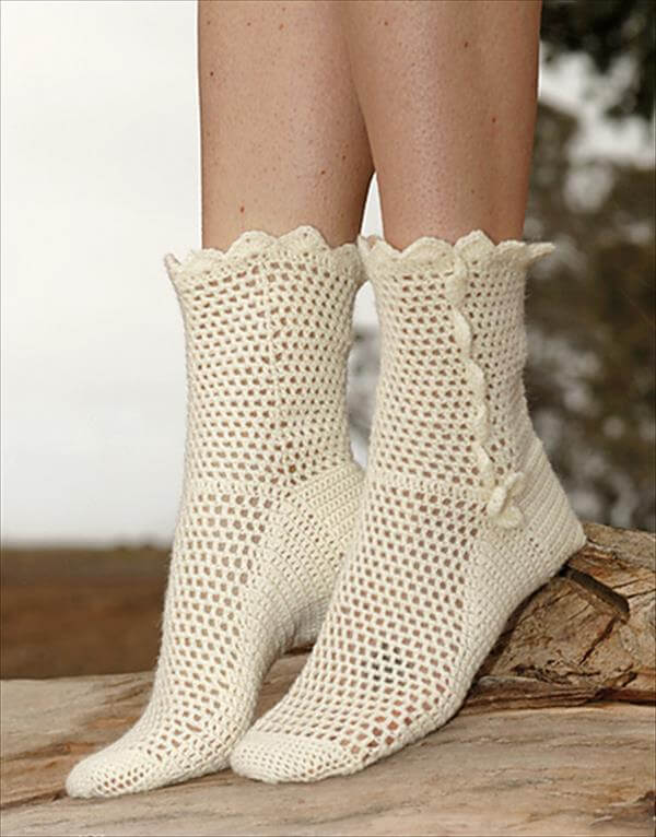 free crochet socks in fabel pattern