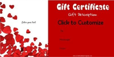 Free Valentines Day Gift Certificate Template Customize