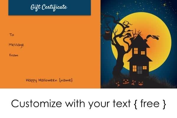Halloween Gift Certificates