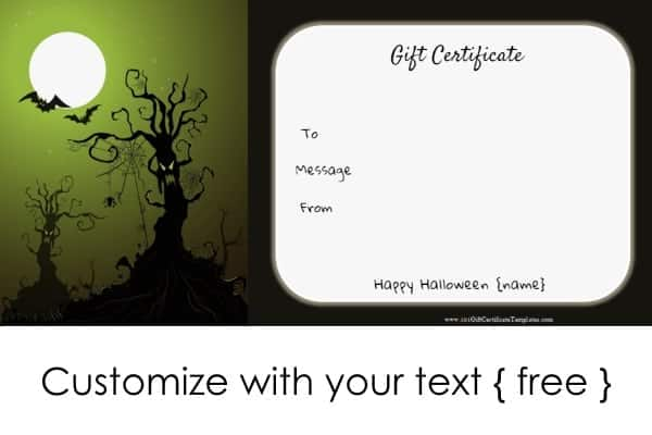 customized gift certificates