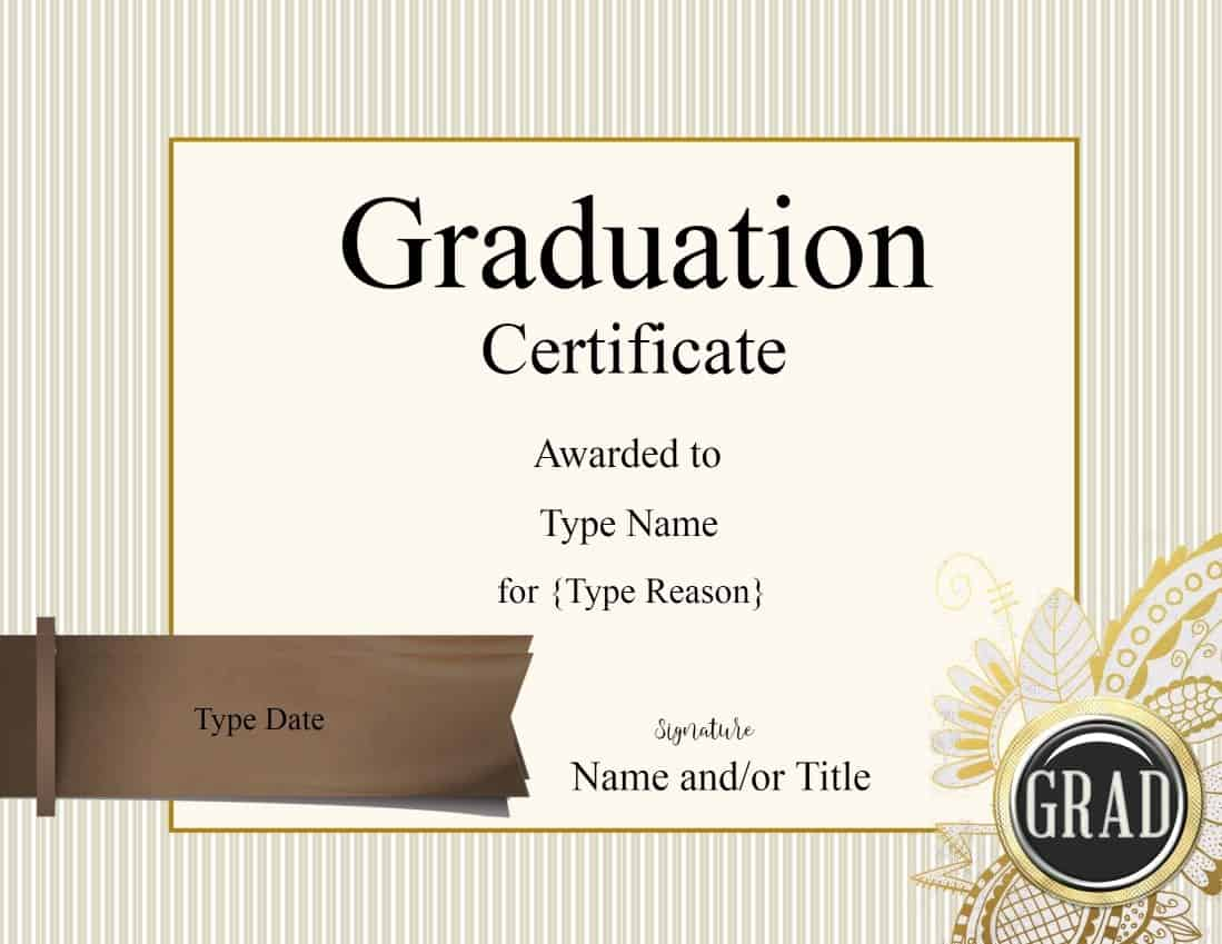 Graduation Certificate Template Customize Online & Print