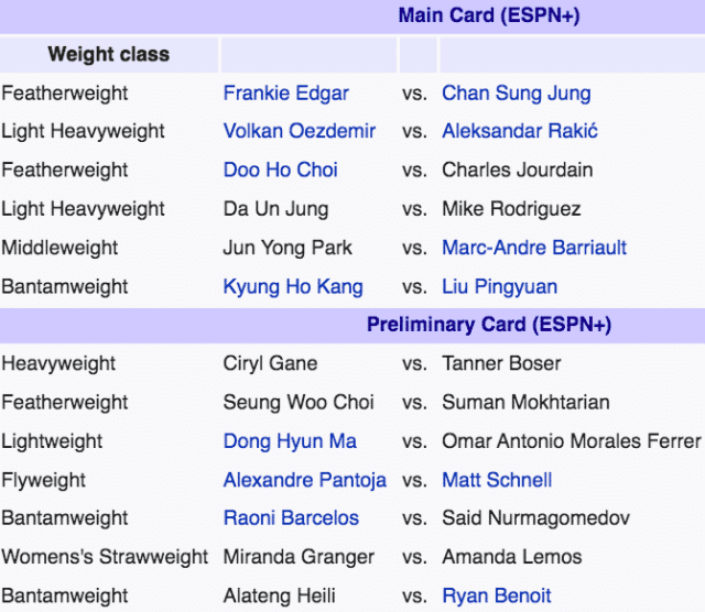 UFC Busan live streaming fight card