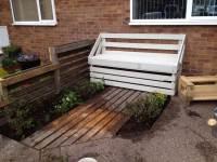 White Painted Pallet Garden Bench - 101 Pallet Ideas