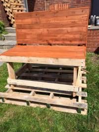 DIY Pallet Garden Bench - Brick Red Stained - 101 Pallet Ideas