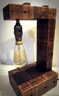 Pallet Table Lamp with Edison Bulb - 101 Pallet Ideas