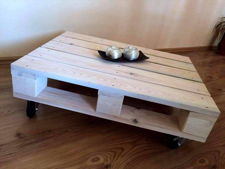 industrial coffee table on caster