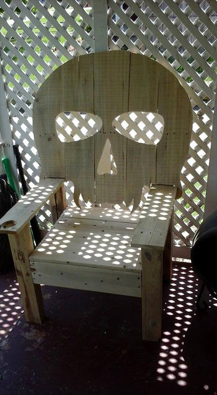 wooden skull chair seat cover wood pallet