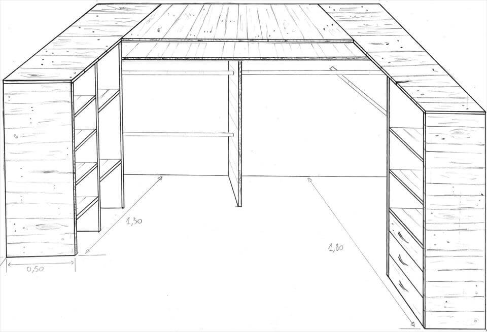 DIY Pallet Corner Closet or Cupboard