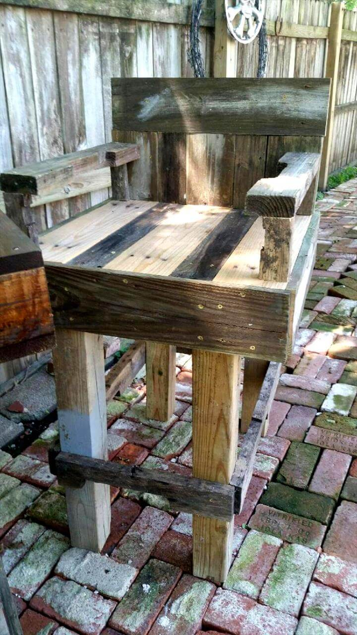 patio chairs with footrests soccer mom diy pallet outdoor bar table set - 101 ideas