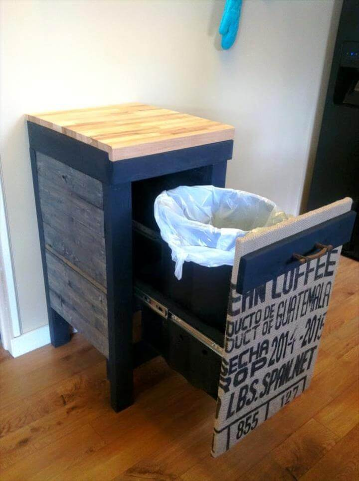 kitchen garbage can storage decoration for pallet trash holder
