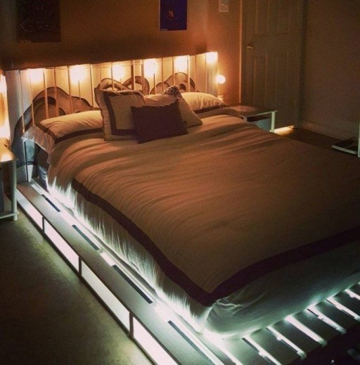 DIY Recycled Pallet Beds with lights