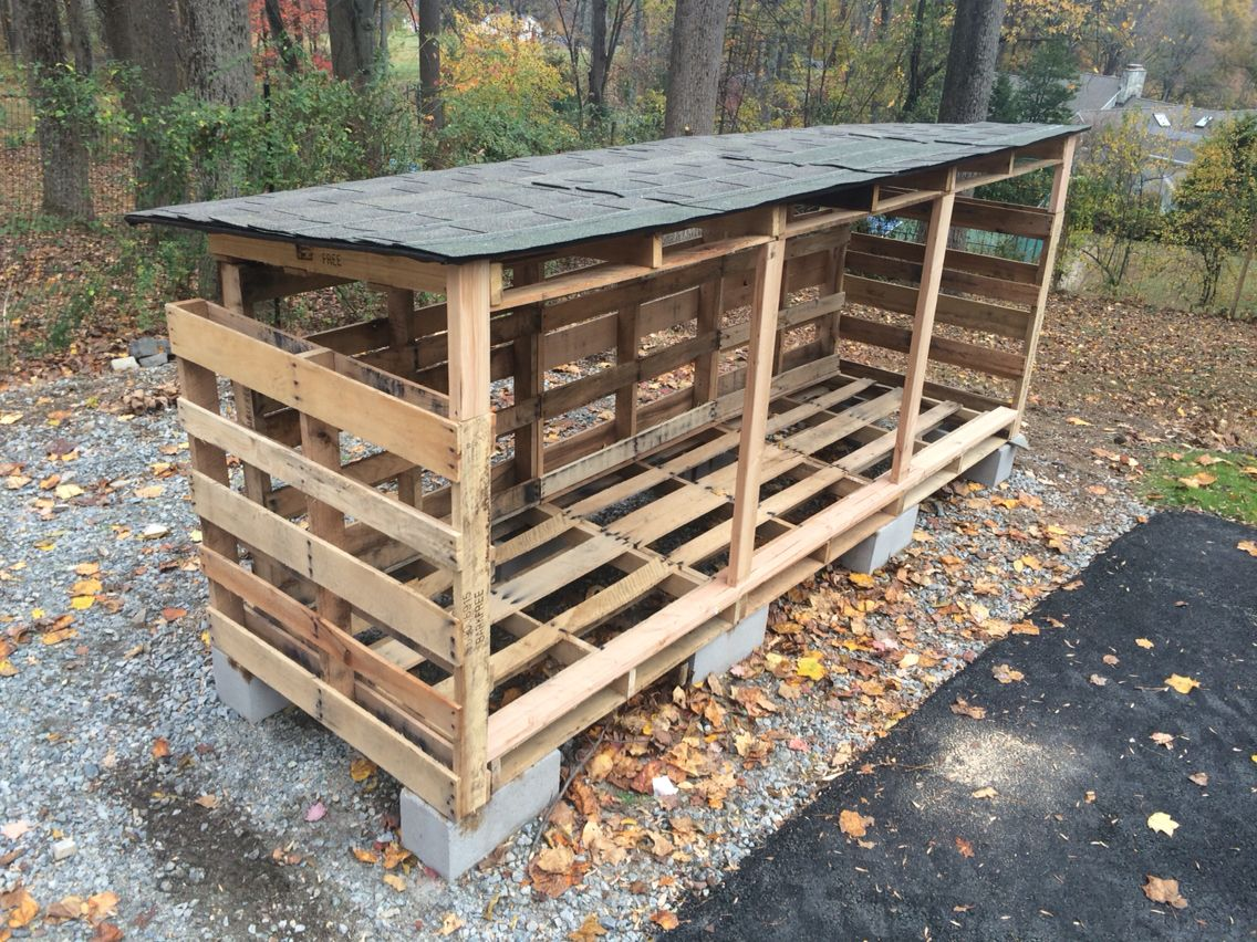 Easy Wood Pallet Firewood Shed
