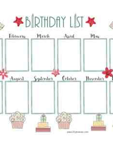 Birthday calendar template also free customize online  print at home rh planners