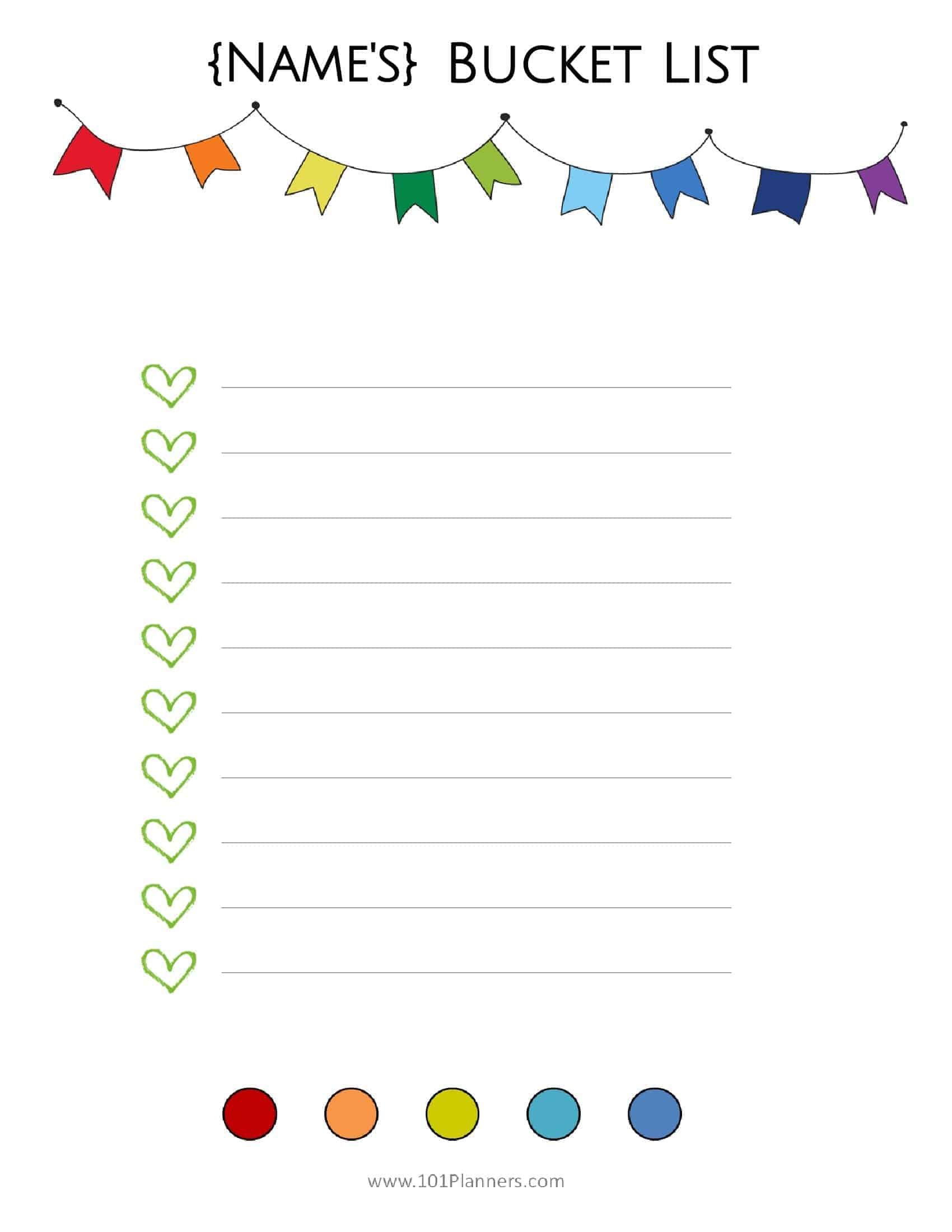 Free Bucket List Printable