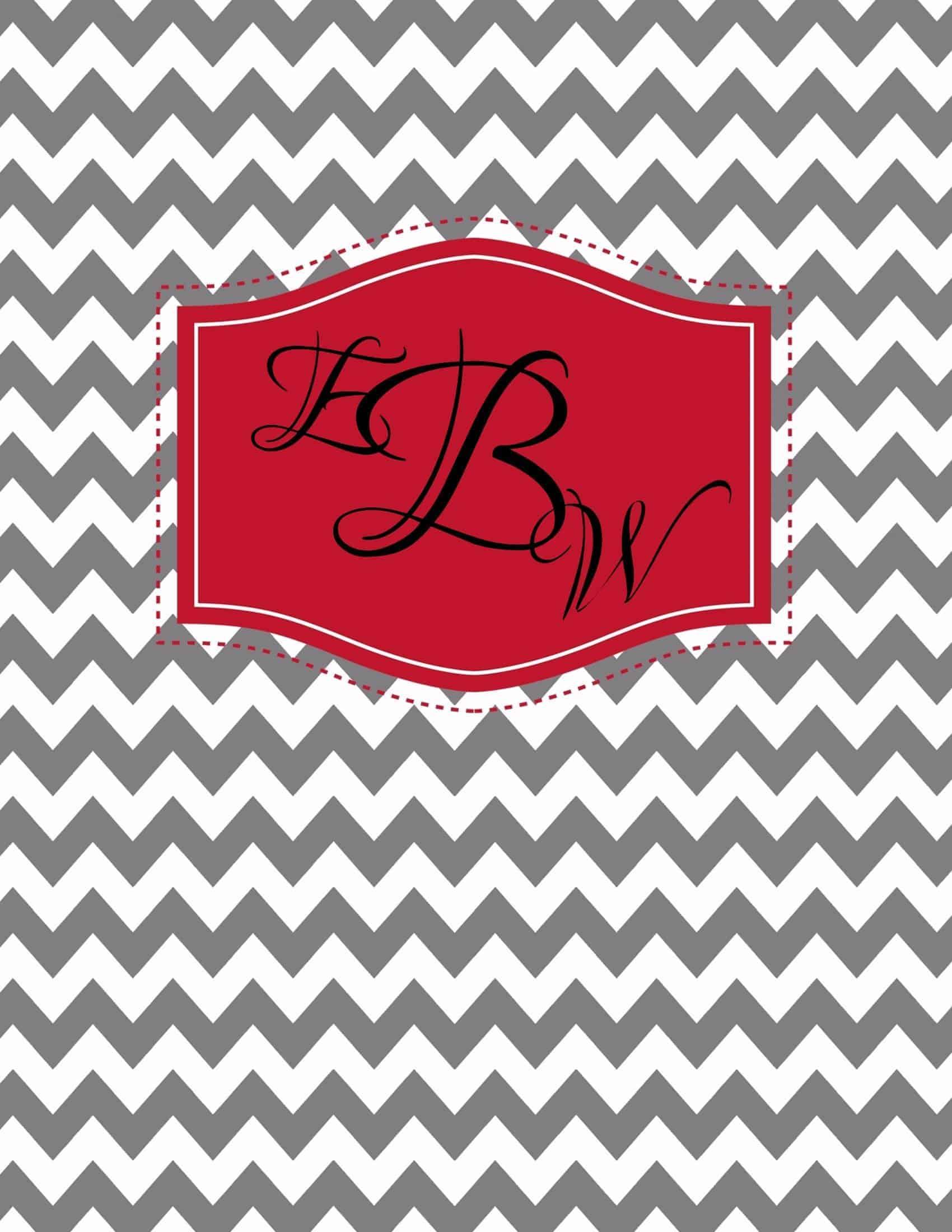 monogram binder cover free
