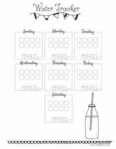 Daily water intake tracker also free printable chart rh planners