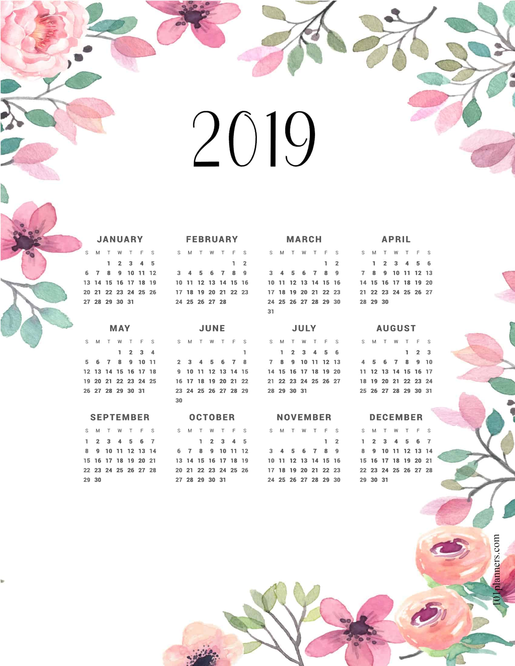 Free Printable Yearly Calendar At A Glance