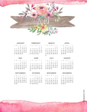 Free Printable 2019 Yearly Calendar At A Glance 101 Backgrounds