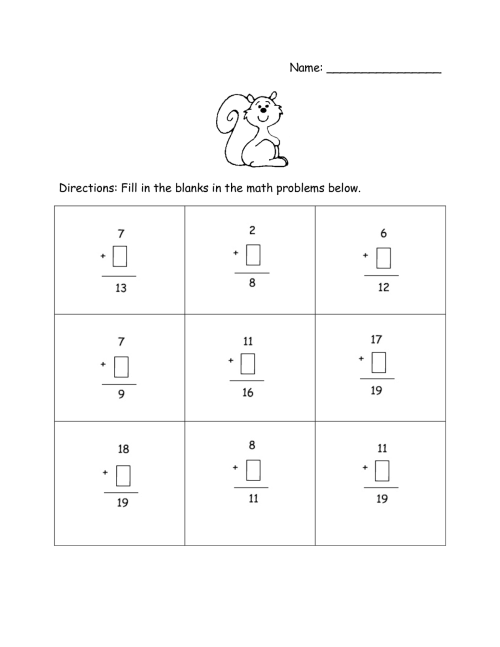small resolution of Subtraction Worksheets Missing Addends   Printable Worksheets and  Activities for Teachers