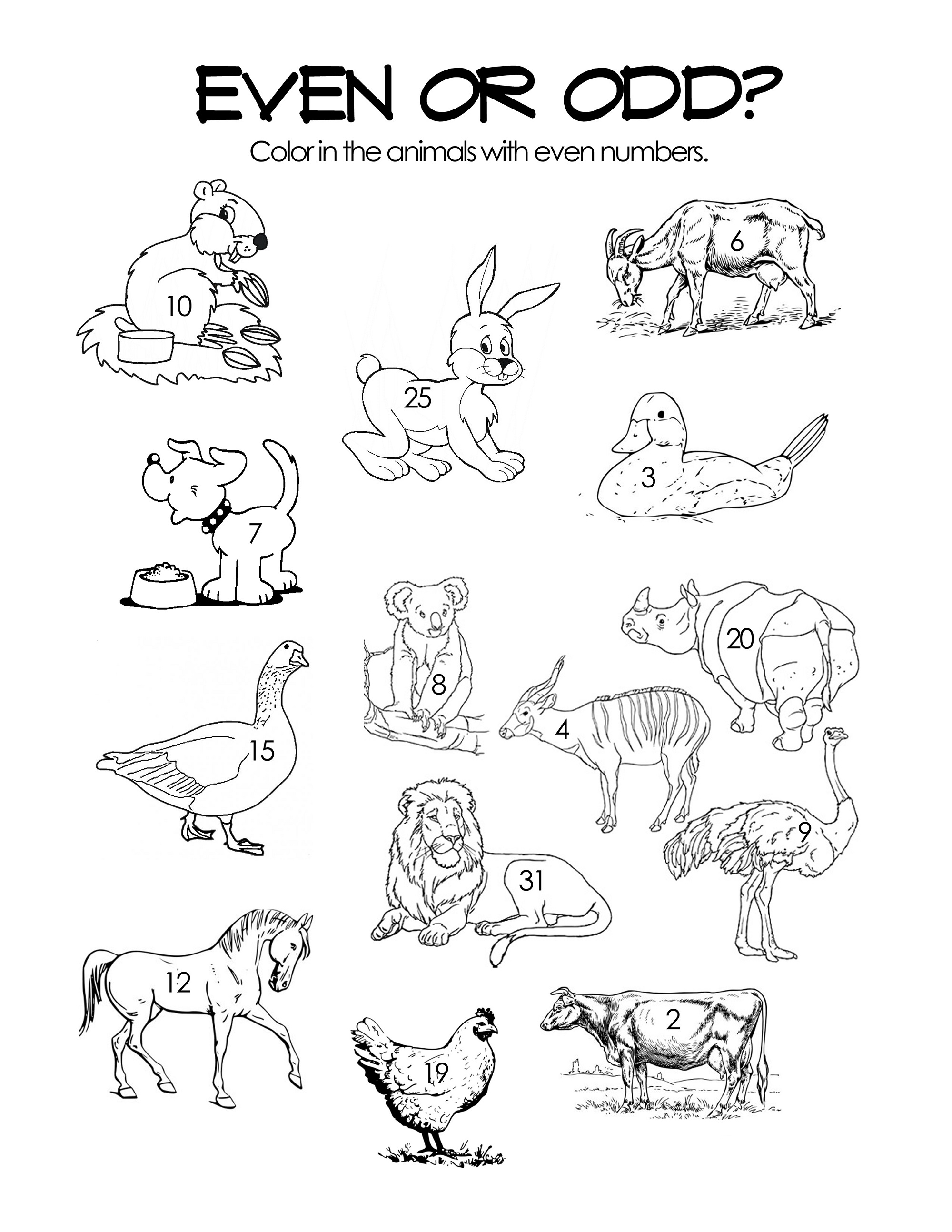 Even And Odd Number Worksheets Pictures