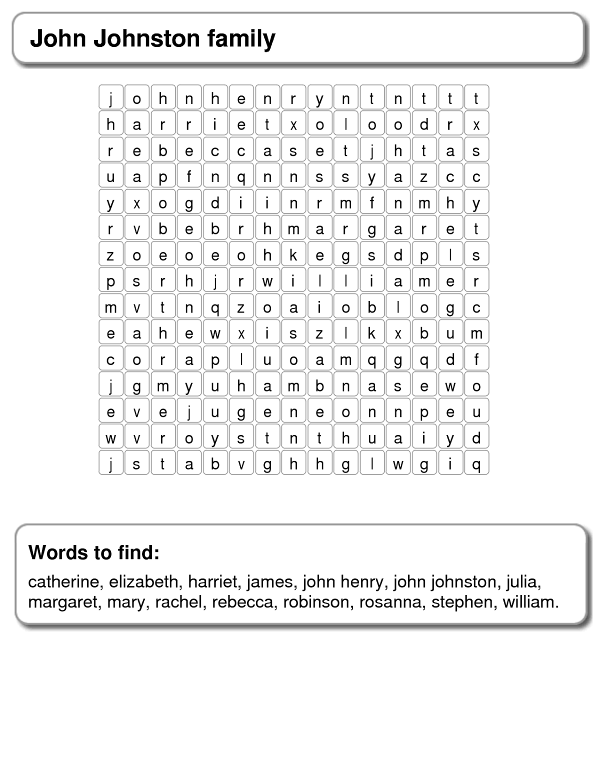 Family Word Search For Beginners