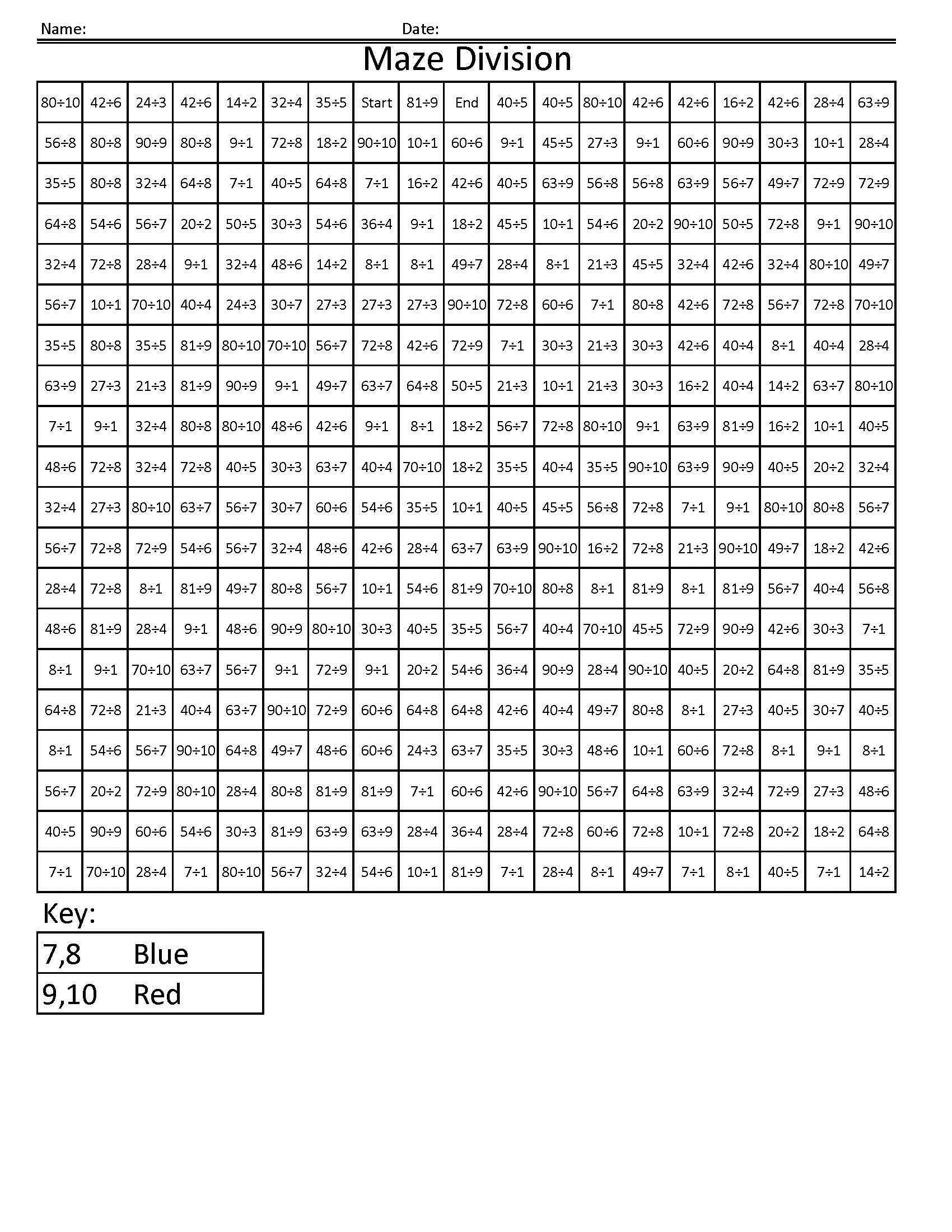 Math Maze Worksheets Simple