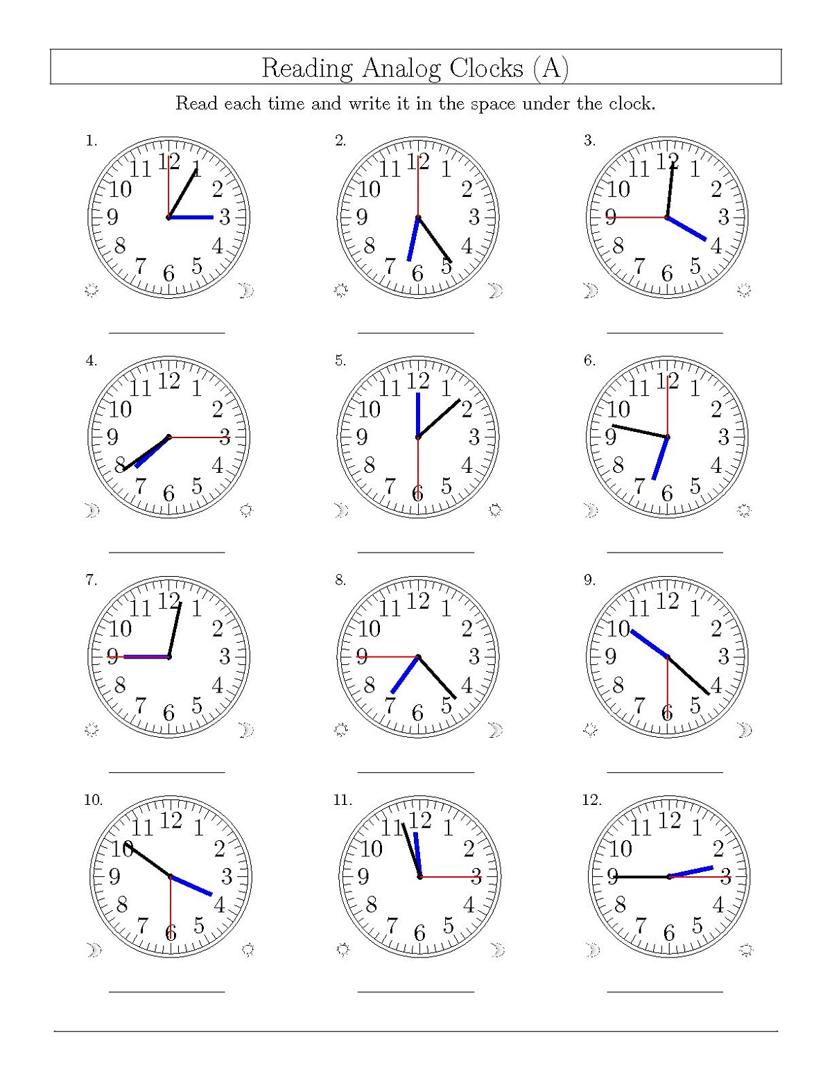 Clock Face Worksheet For Beginners