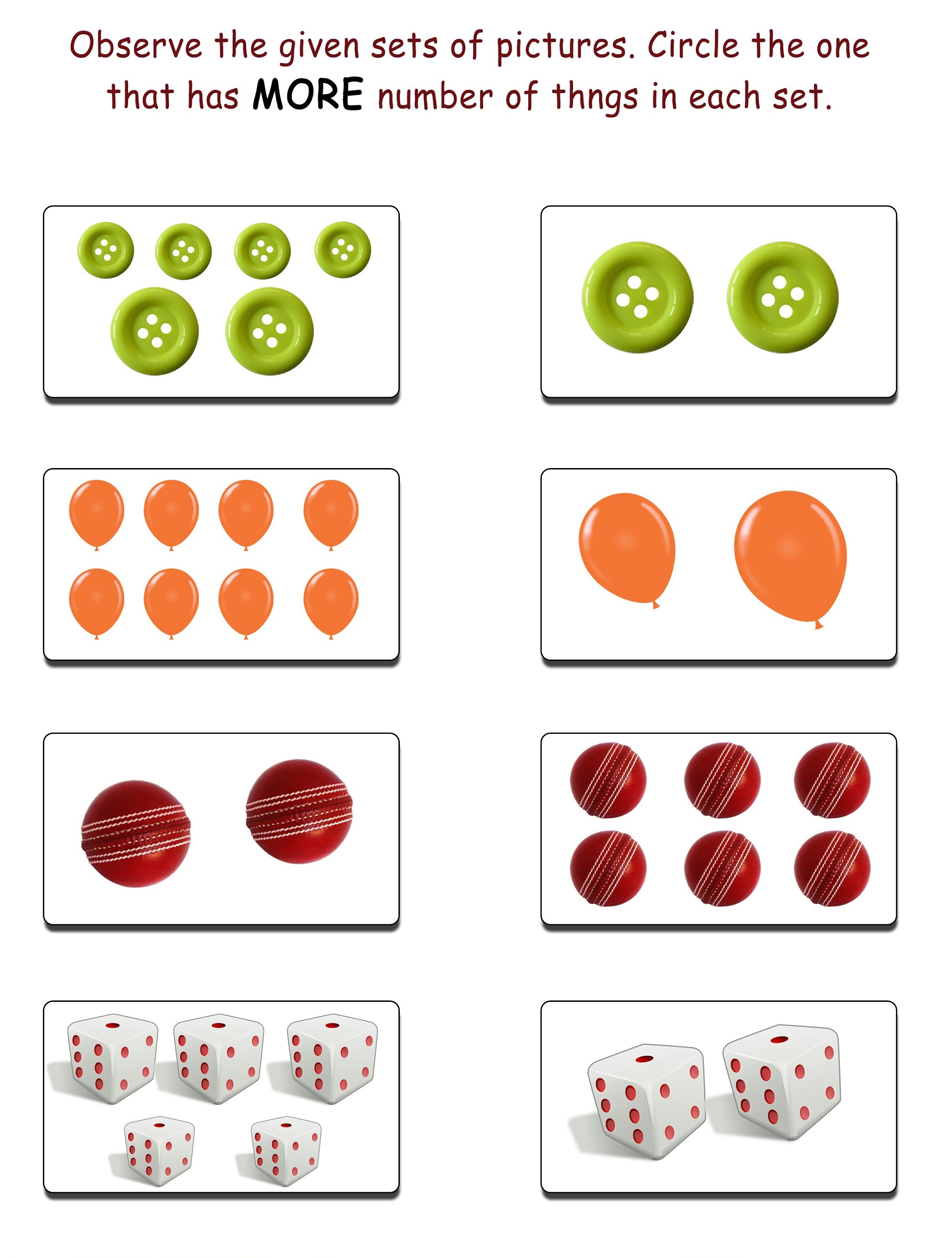 More And Less Worksheets For Beginner