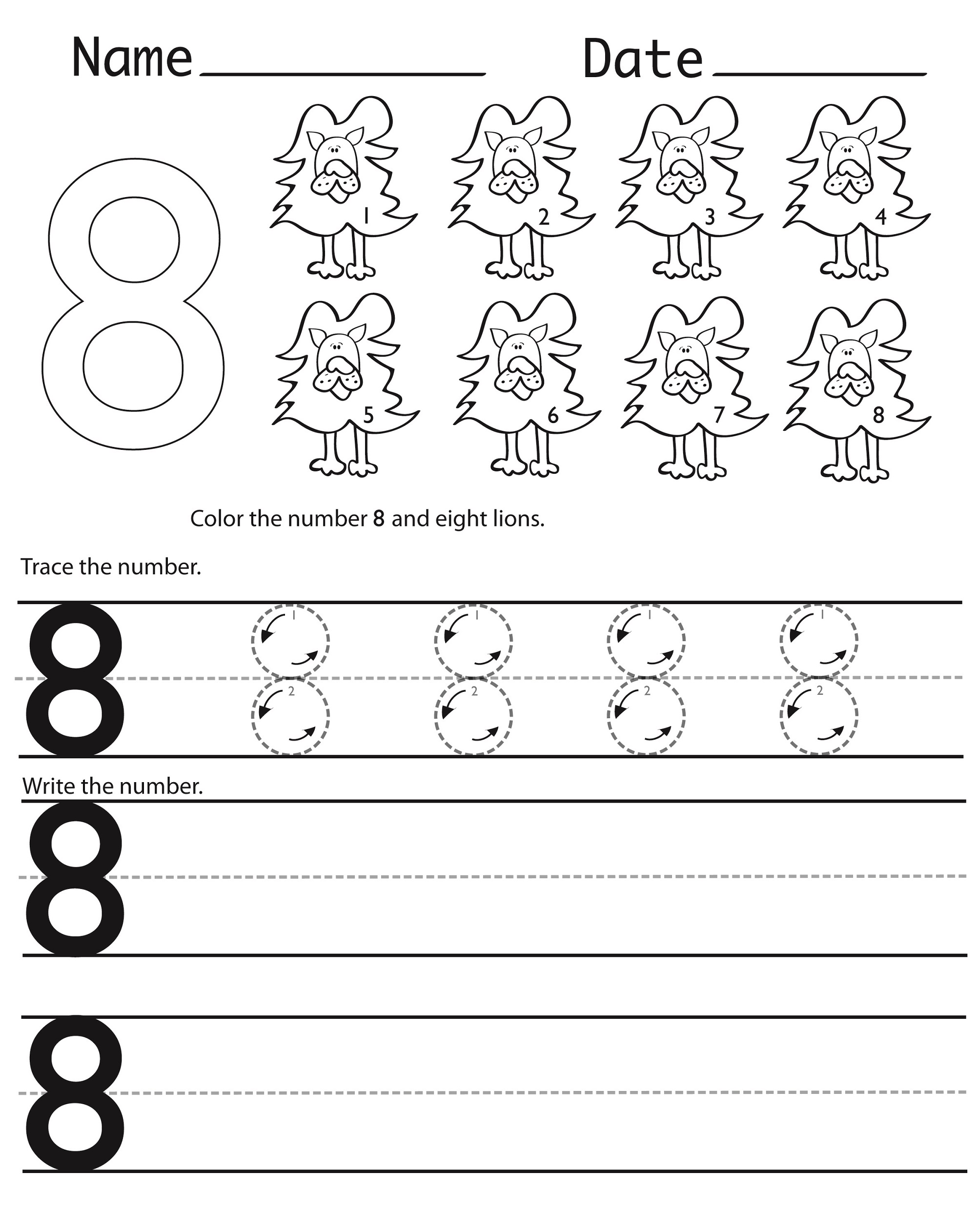 Number 8 Worksheet Tracing