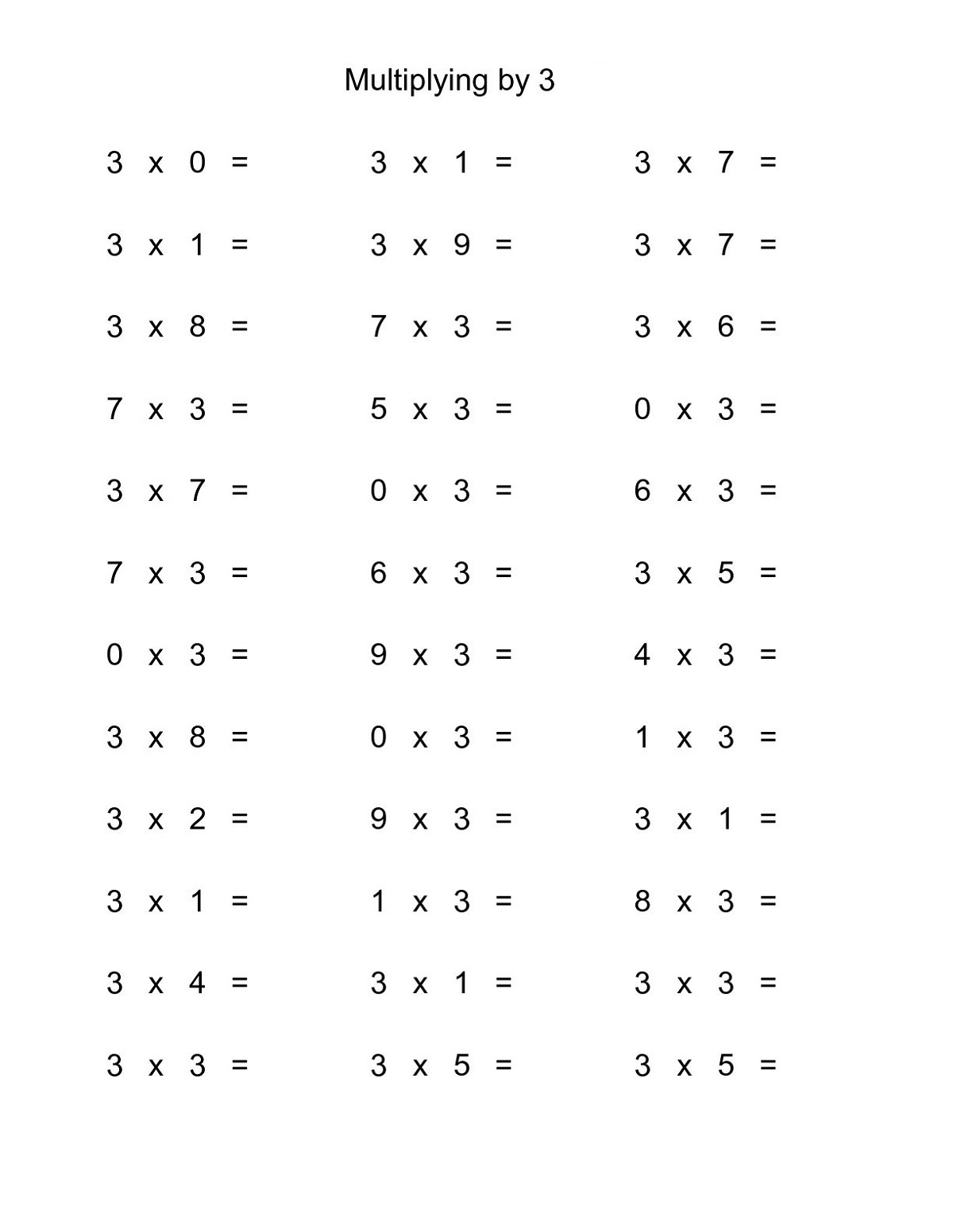 3 Times Tables Worksheet Fun