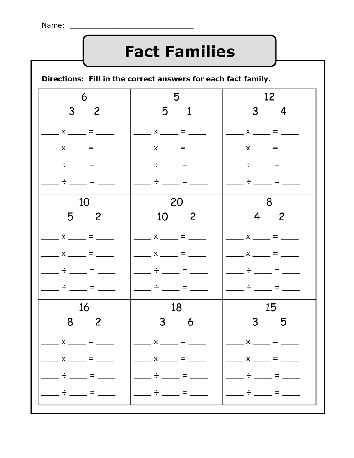Family Of Facts Activity