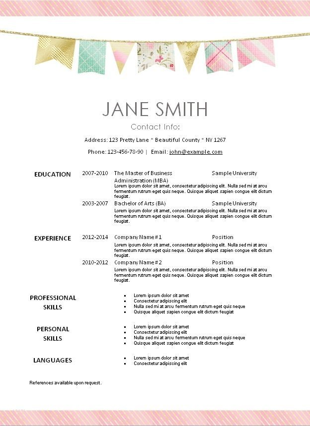 pretty resume templates free