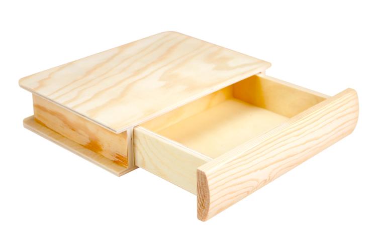 boite tiroir livre en bois