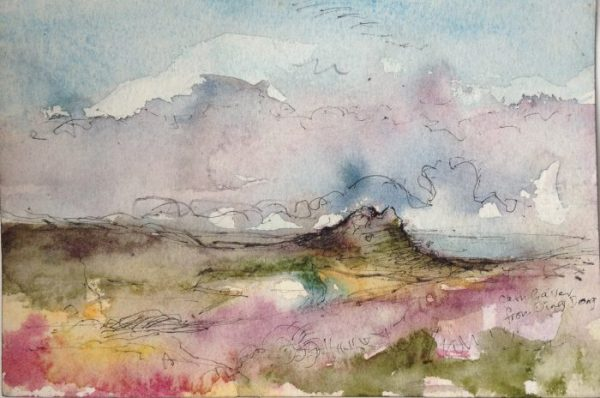 'Carn Galver' original watercolour and pen sketch. Copyright Stephanie Boon, 2017 All Rights Reserved