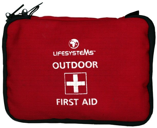 Red Lifesystems Outdoor First Aid bag with white writing and black zip.
