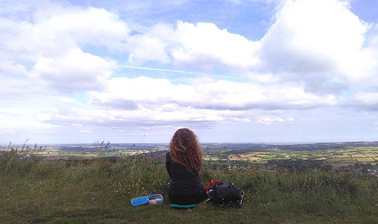Walking Route: Redruth Mining Trail. Picnic on Carn Marth with a view over towards Falmouth Bay.