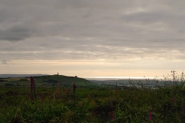 View of Carn Brea from Carn Marth, copyright Stephanie Boon, Cornwall UK, 2018. All rights reserved.