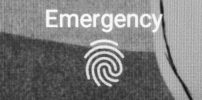 Black and white Emergency Button and fingerprint on android Lock Screen.
