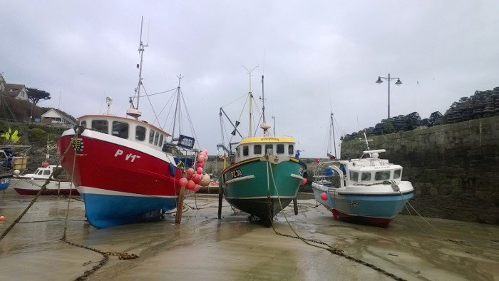 Boats in Newquay Harbour, South West Coast Path, Cornwall, 2014. Copyright Katie Sharp 2014.