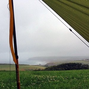 Campsite views over Widemouth Bay, South West Coast Path, North Cornwall.