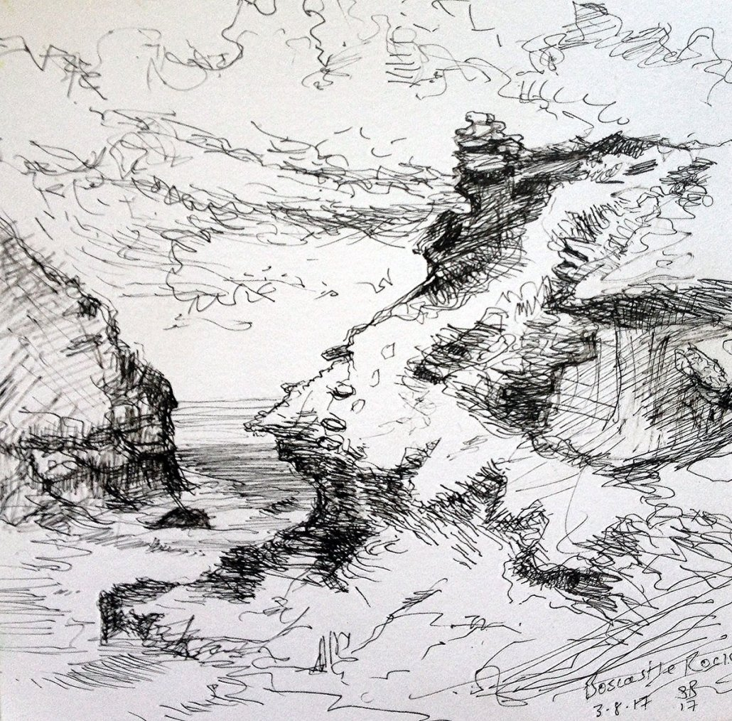 Pen and ink sketch 'Boscastle Rocks', Copyright Stephanie Boon, 2017. All Rights Reserved