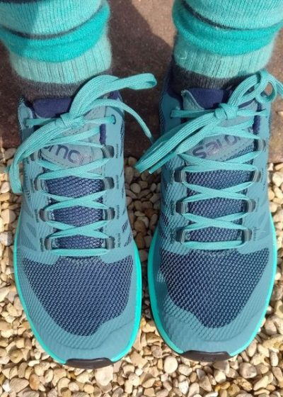 Saloman Outline Women's GTX trail / hiking shoes in blue.