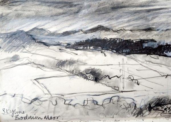 A pencil sketch of Bodmin Moor from Helman Tor.