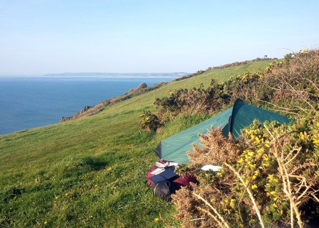 Wild camping on the cliff tops in South Devon