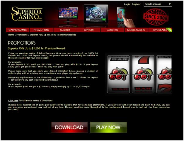 superior casino reload bonus